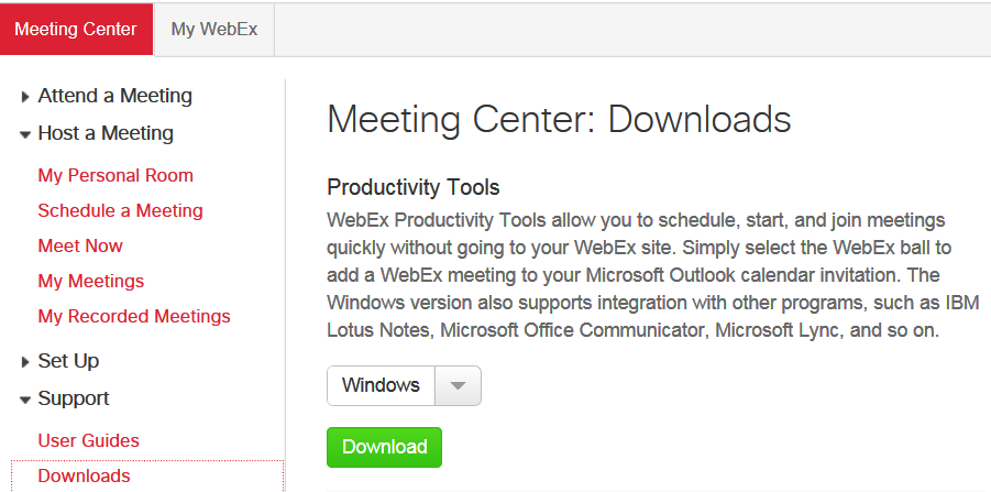 webex one click download